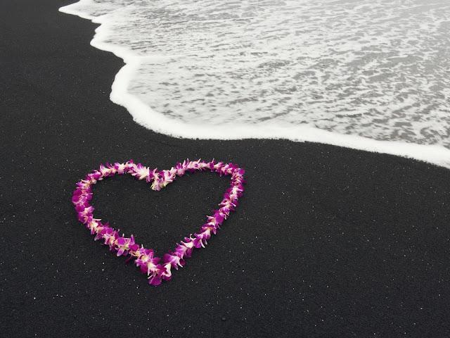 Corazón de Flores en la Orilla de la Playa de Arena Negra