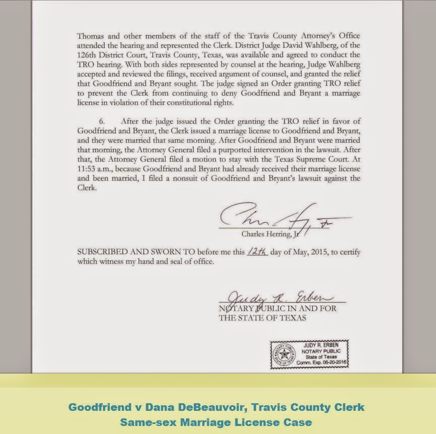 Goodfriend V Travis County Clerk Documents From Texas Same Sex