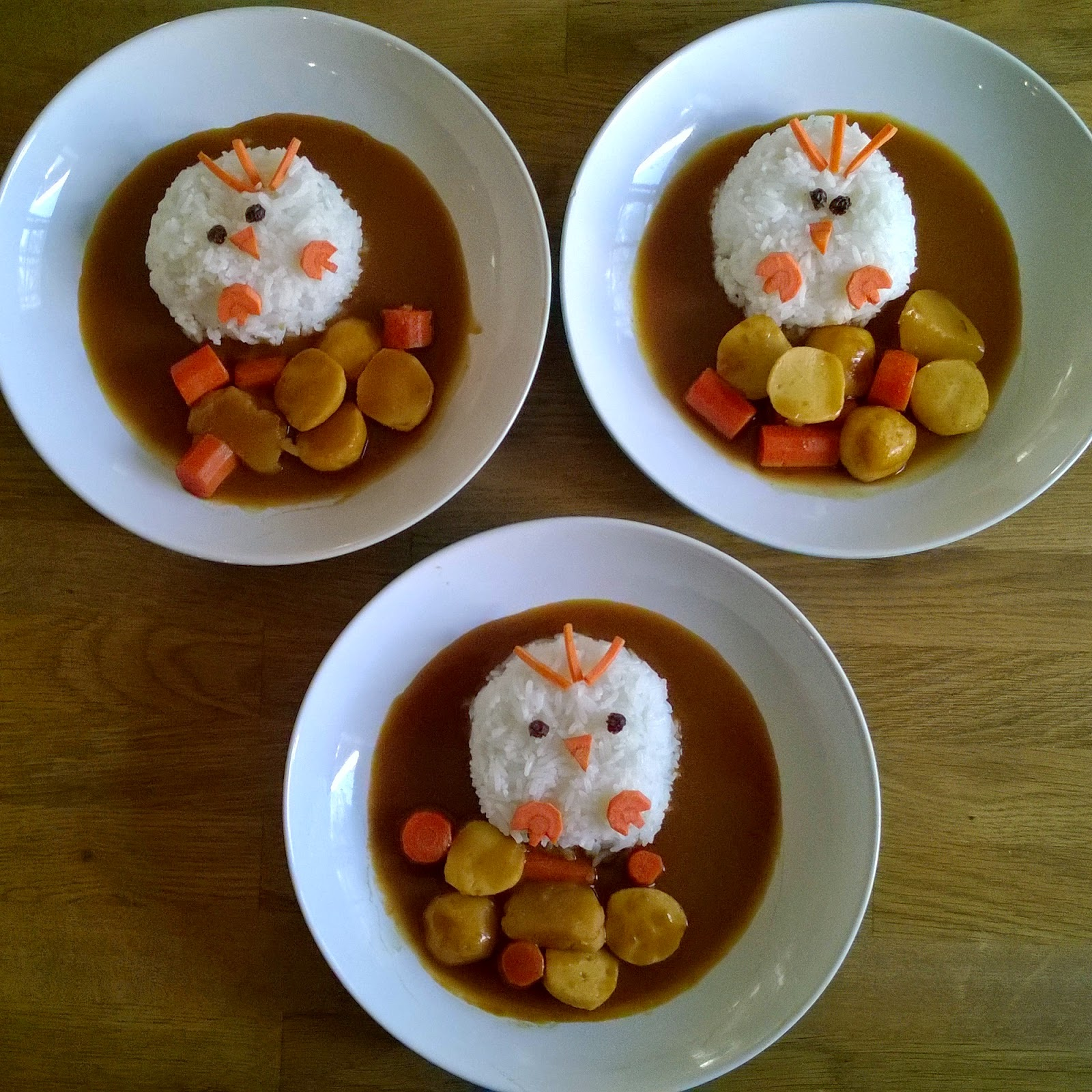 Chicks in curry food art