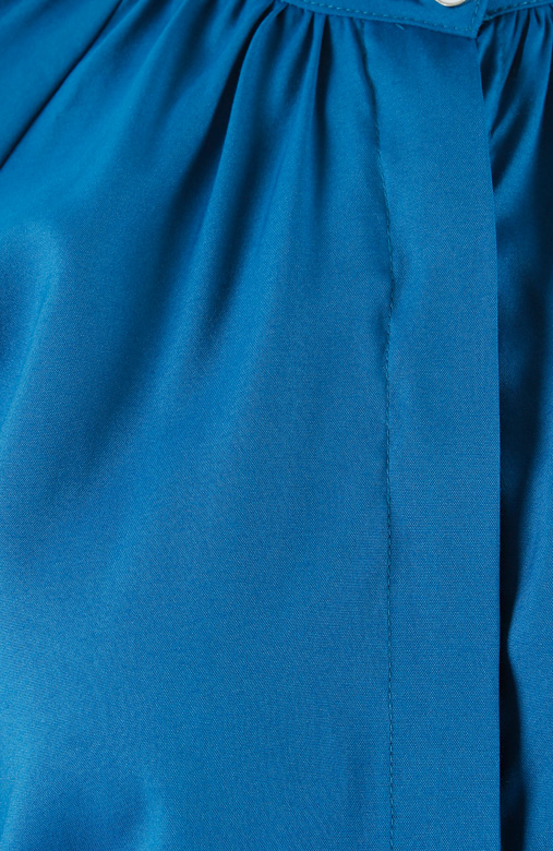Azure Blue Brilliant High Neck Ruched Shirt