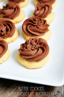 Butter Cookies with Chocolate Buttercream by Add A Pinch.
