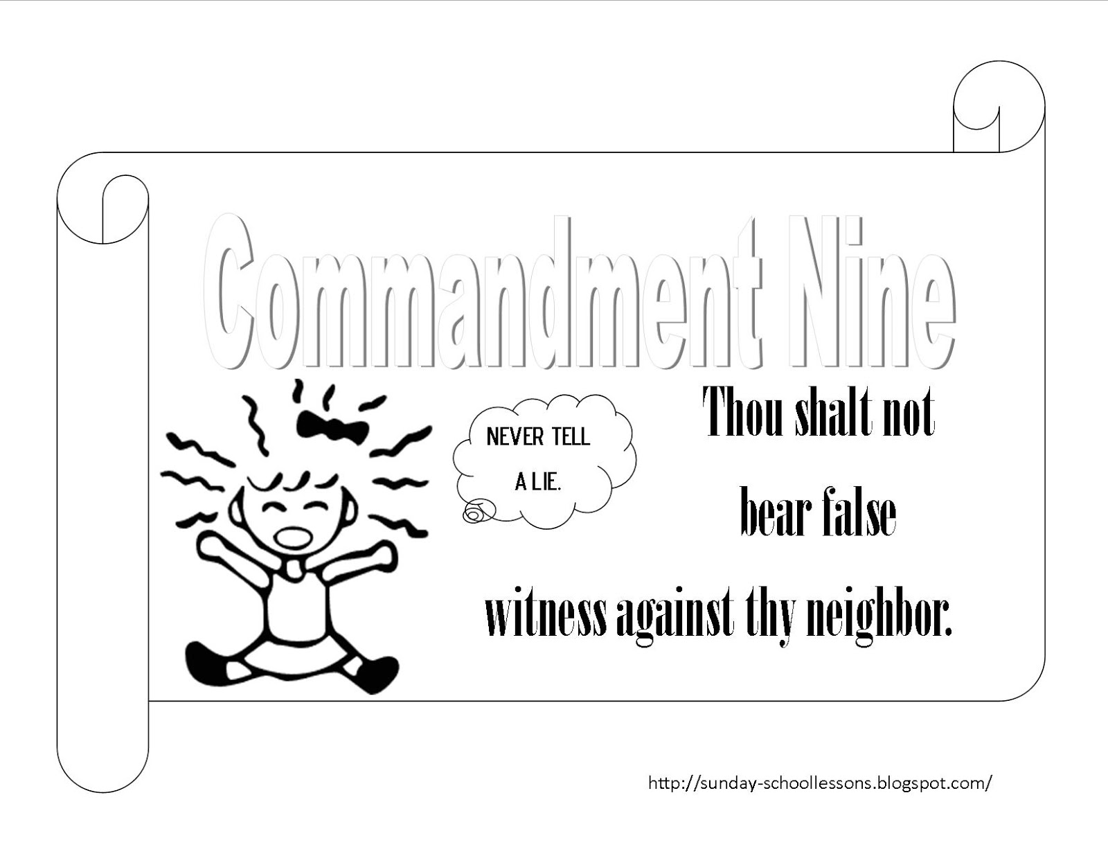 10 Commandments Coloring Pages Numbers NIne Ten Sunday School