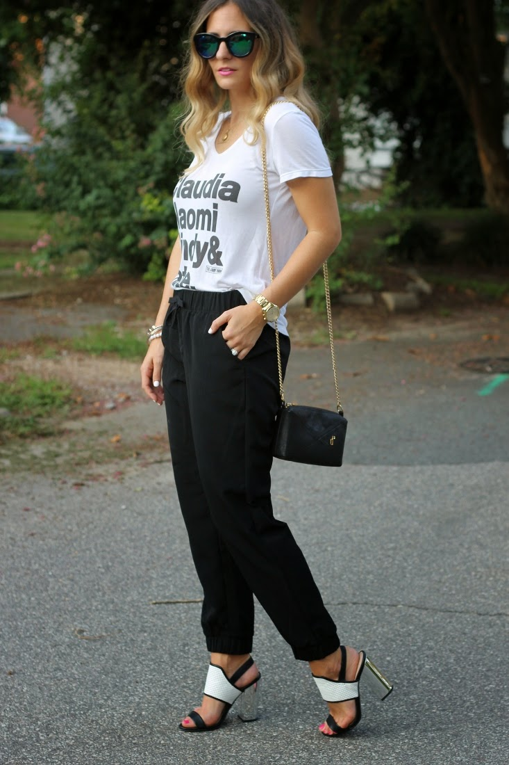Slouchy Pants with Mirrored Heeled Sandals