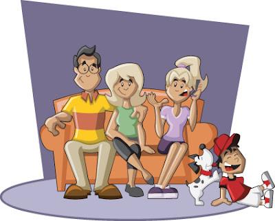 vector de una familia en el sofa