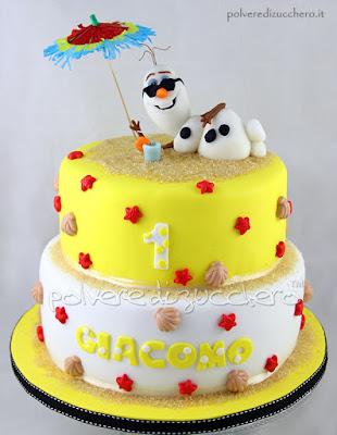 torta frozen: olaf in spiaggia, olaf summer cake