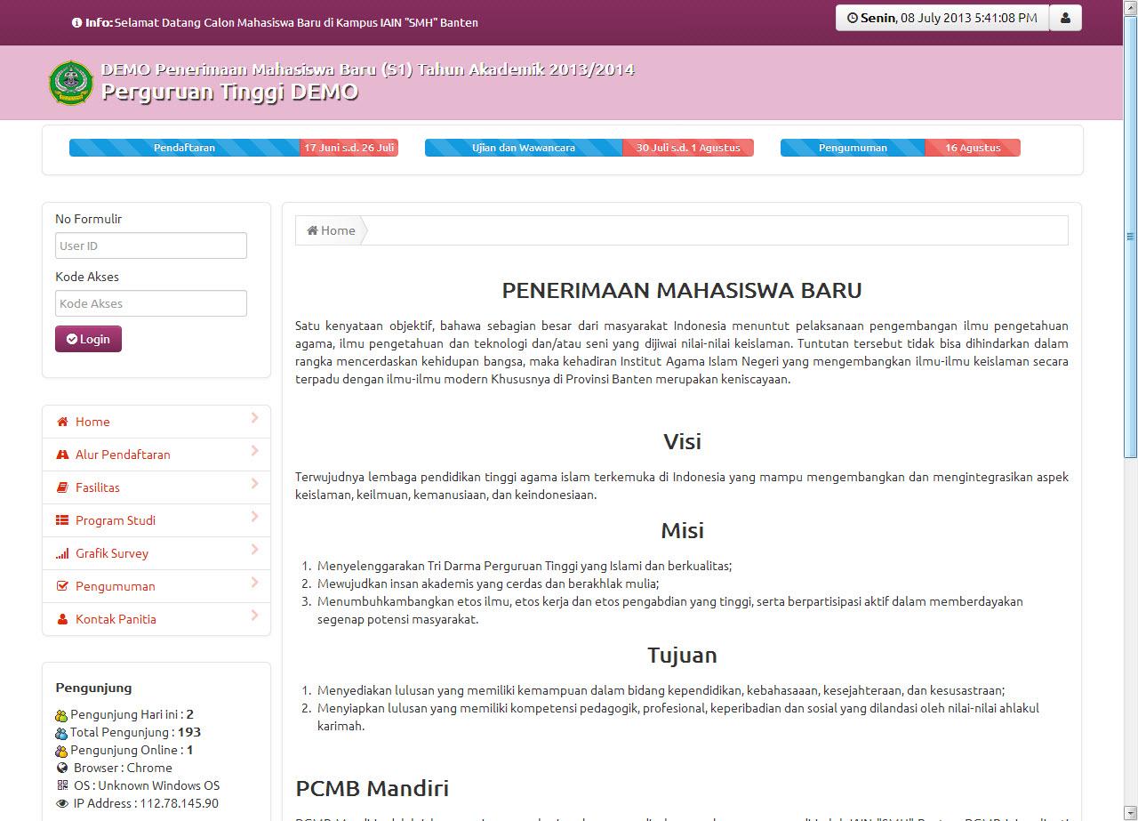 PCMB Penerimaan Calon Mahasiswa Baru dengan CodeIgniter