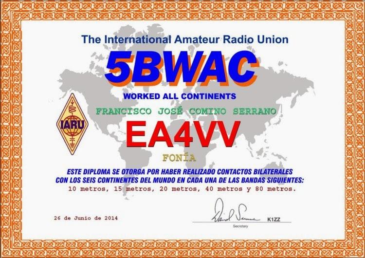 WAC 5 BANDAS 6 CONTINENTES
