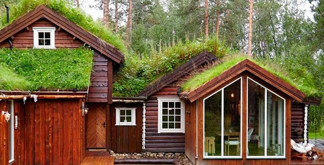 Estilo rustico casa de techos verdes en noruega for Casas en noruega