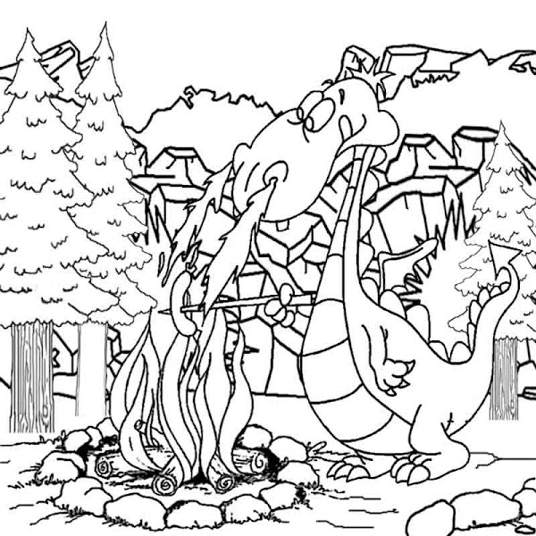 Dragon And Castle Coloring Pages Colorings