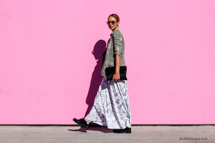 three dots, Maxi dress, summer dress, Blazer for summer, Blogger, Fashion blogger, Best blogger, top Blogger, top ten fashion bloggers in LA, top fashion bloggers, Steve Madden shoes, Girogio Armani sunglasses, Clare Vivier bag