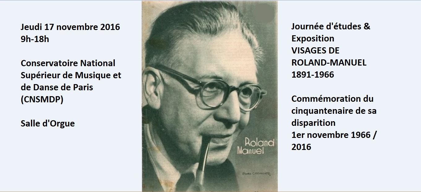 Journée d'études & Exposition Roland-Manuel Jeudi 17 novembre 2016