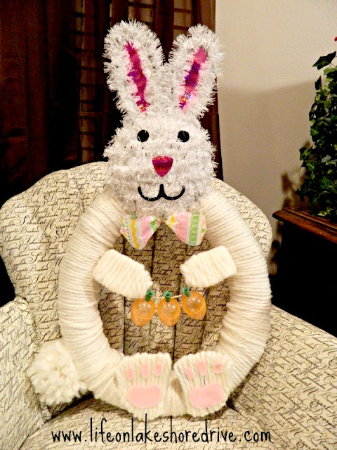 Wreath, spring decor, Easter, bunny, how to, Tutorial, DIY, home decor, yarn, pool noodle,