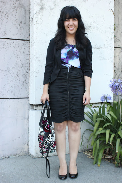 Silk Top and Pencil Skirt Outfit