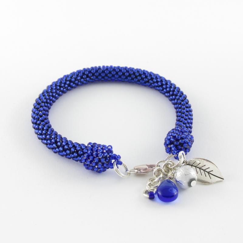 Bead crochet rope cobalt