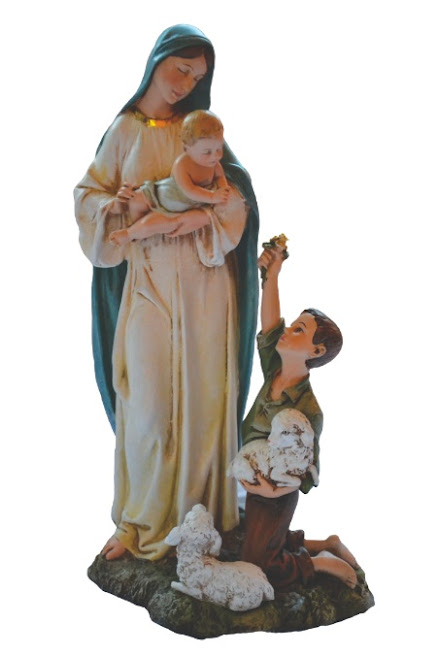 Our Lady holding Jesus as He accepts flowers from the shepherd child