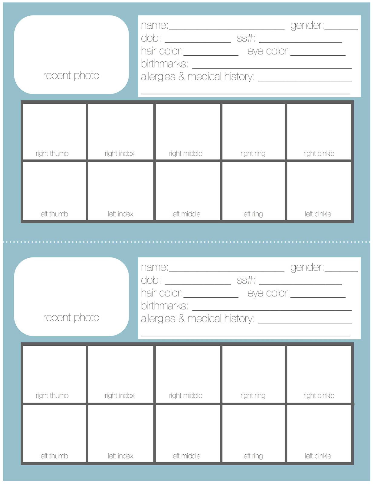 Free Printable Emergency Information Sheet