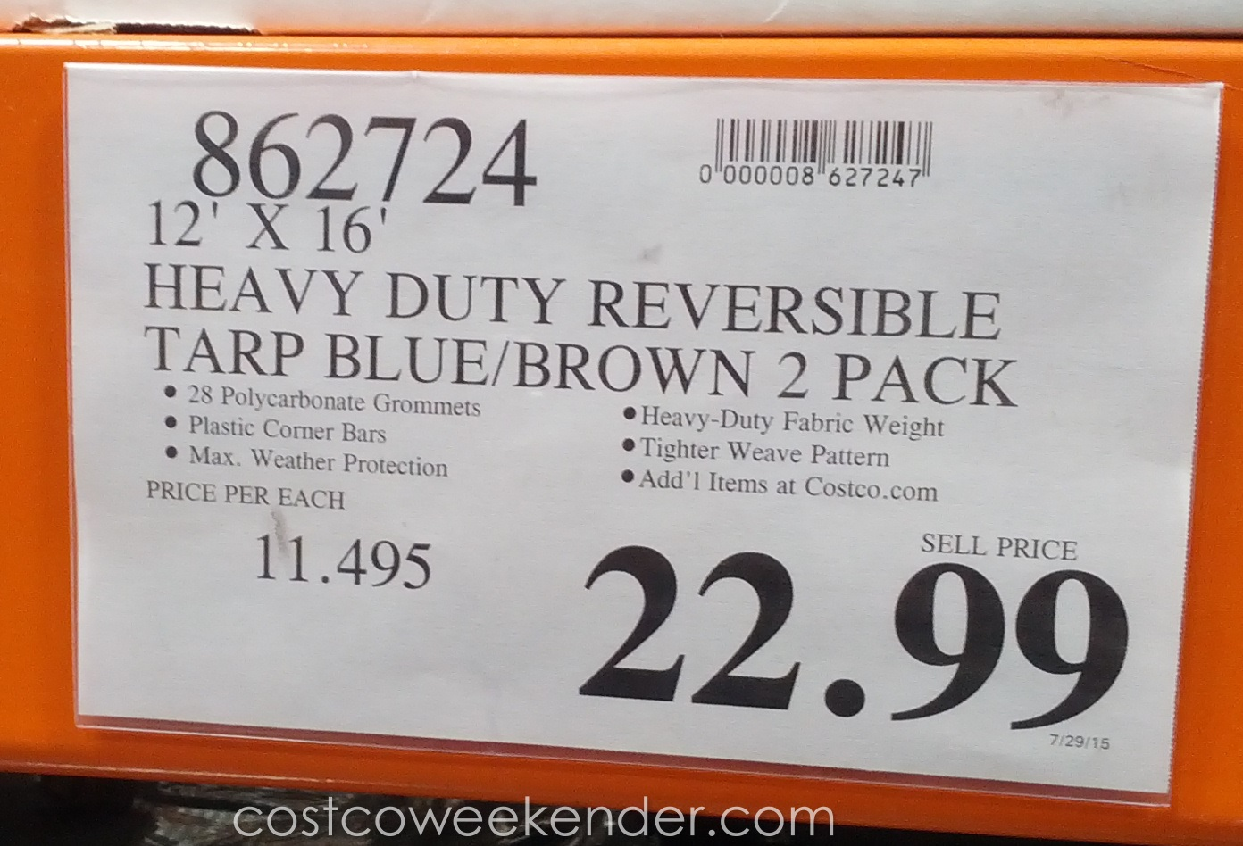 heavy duty reversible tarp blue brown 2 pack costco weekender deal for a 2 pack of heavy duty reversible tarp blue brown at