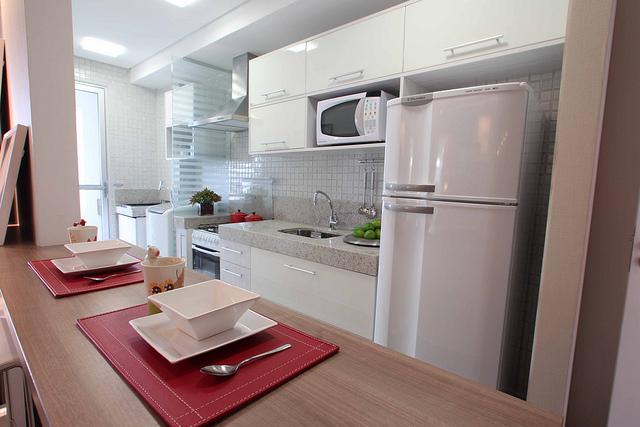 Armario De Cozinha Pequeno Ricardo Eletro ~ Arquitetura Feminina Apartamento Decorado Cozinhas Parte 2
