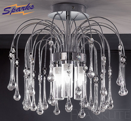The Franklite FL2140/3 Bathroom Ceiling Light with glass teardrops
