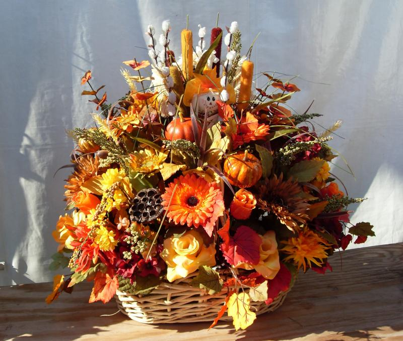 Fall Gerbera Daisy Bouquet Autumn Basket Arrangem...