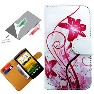 Pink Floral Book Flip Case Cover Pouch Wallet Pocket Skin For HTC One 1X