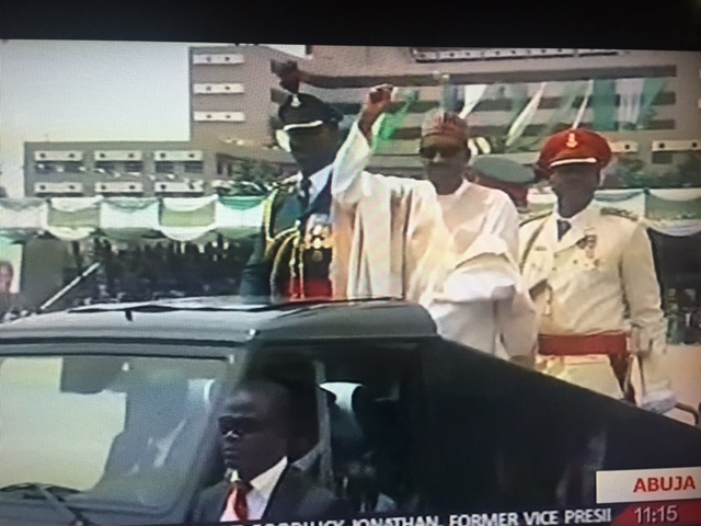 Nigeria's New President, Muhammadu Buhari Rides In The Presidential G-Wagon