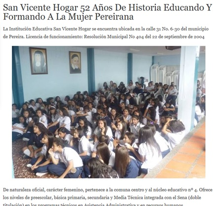 San Vicente Hogar 52 años de historia Educando y Formando a la mujer pereirana
