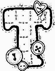 desenho de alfabeto de tecido e botoes para pintar letra T