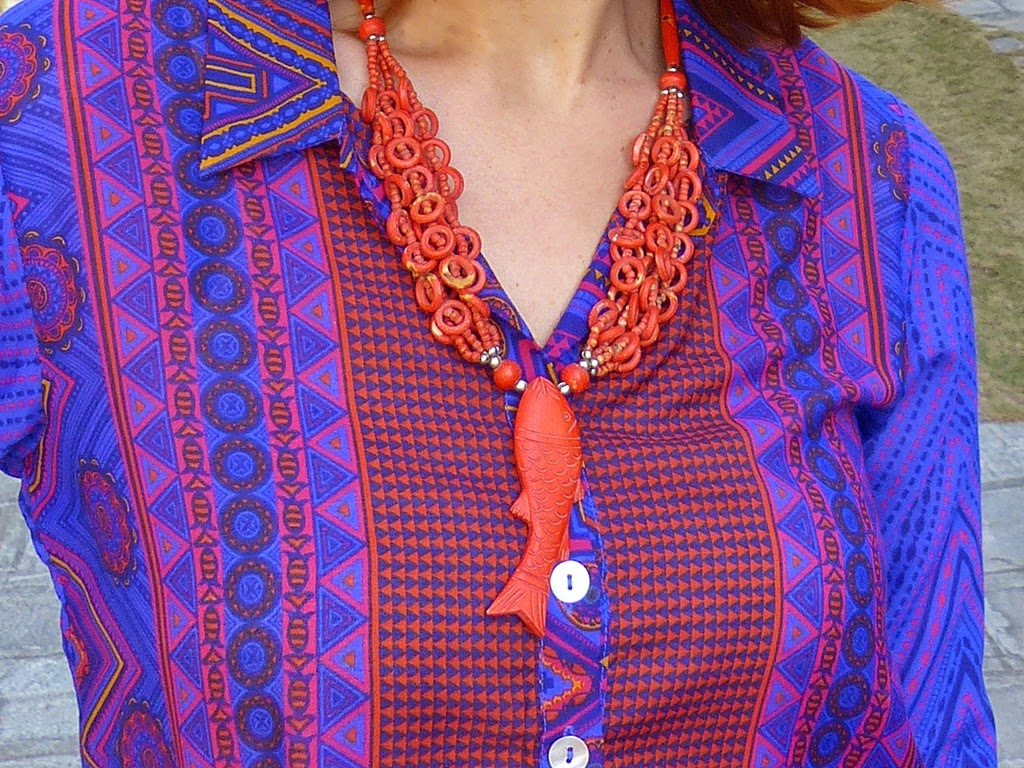 Orange fish necklace