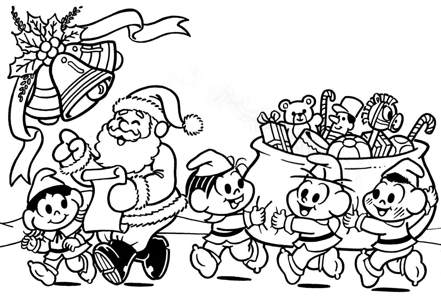 Desenhos Para Colorir festa de natal da turma da monica