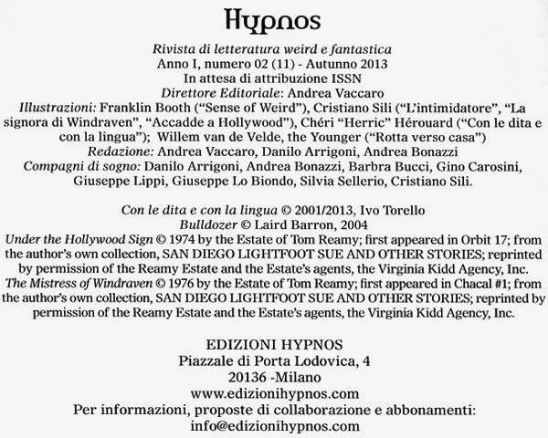 Hypnos, Vol. 2, pagina dei crediti