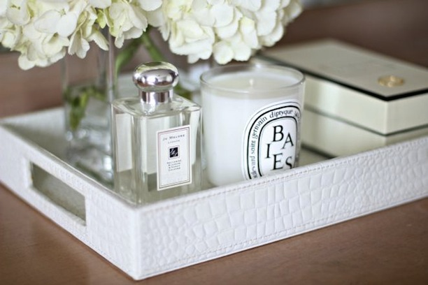 Baies Diptyque Candle White Alligator Tray Jo Malone Fragrance White Hydrangeas