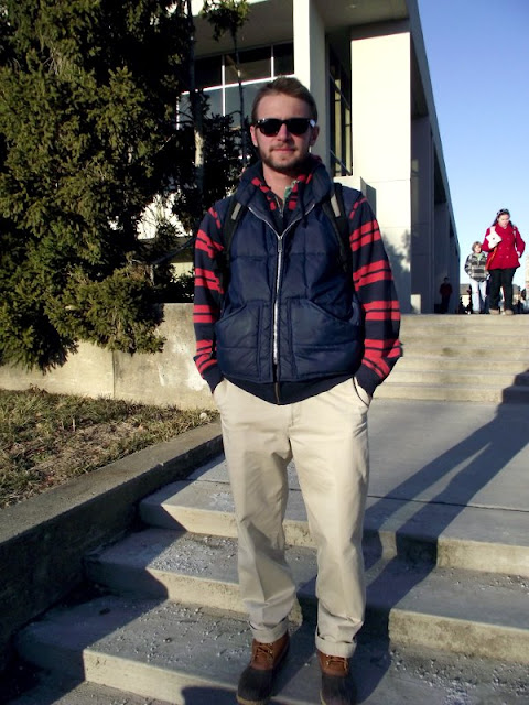 mens street style, southern street style, virginia street style, puffy vest and khakis