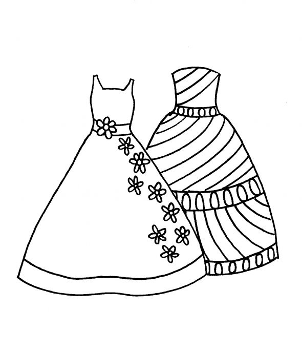 see how many different effects your child can get by coloring the same dresses differently