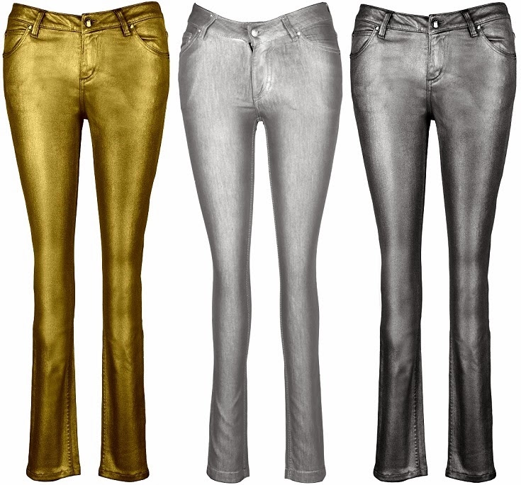 SHINE ON!! Antique Gold, Silver and Gunmetal Party Denims by IML Jeans Co.