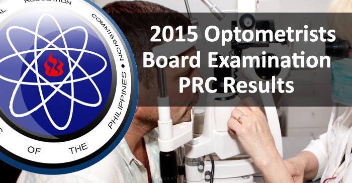 July 2015 Optometrists PRC Board Examination Result