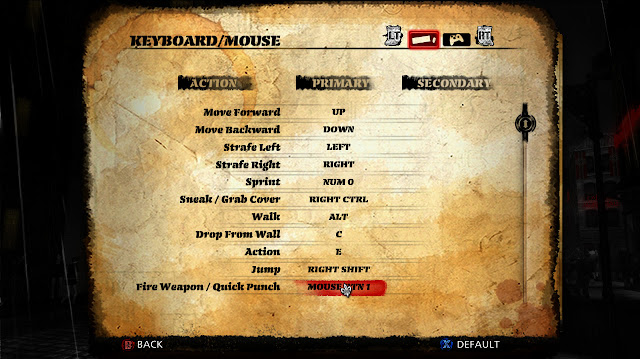 The Saboteur redefine keyboard mouse options screen