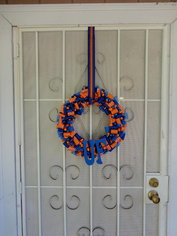 Fingers crossed university of florida ribbon wreath for Michaels craft store salem oregon