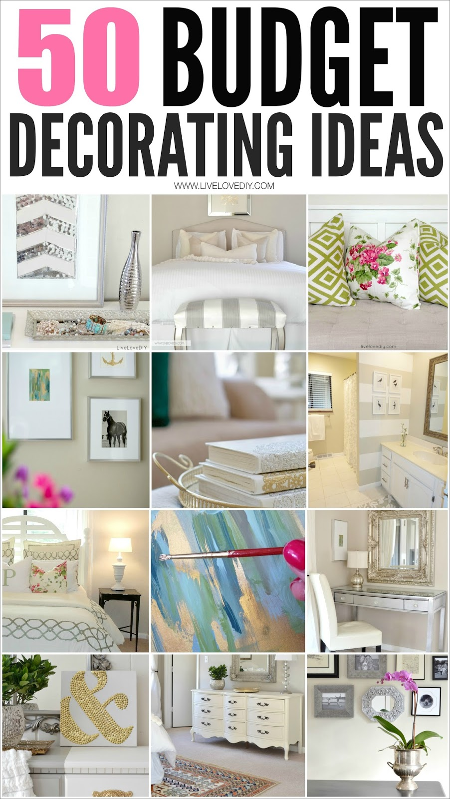 50 Amazing Budget Decorating Tips Everyone Should Know! I especially love #4!