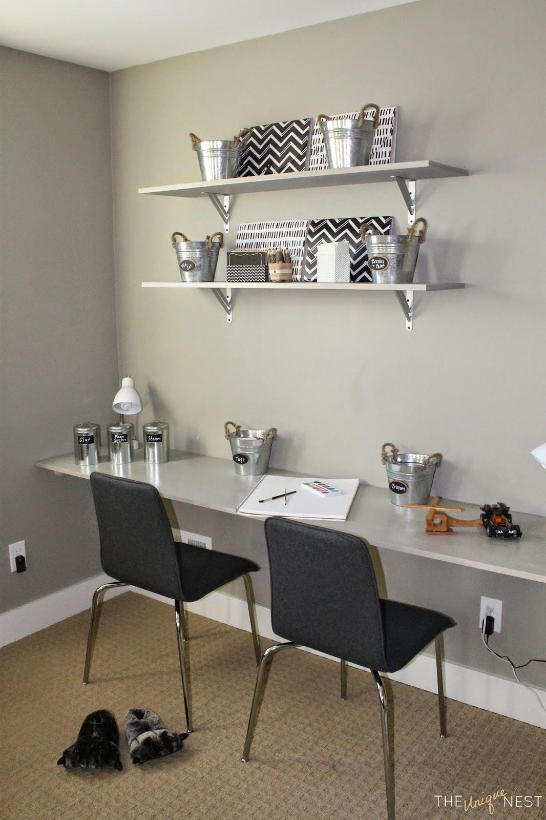 playroom makeover part ii diy shelves floating desk. Black Bedroom Furniture Sets. Home Design Ideas