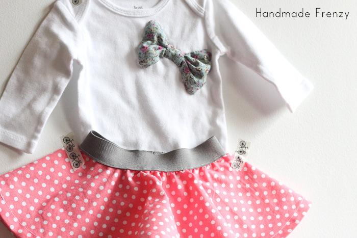 Baby Circle Skirt & DIY Bow Onesie