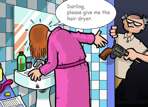 funny, cartoon, darling, hair dryer