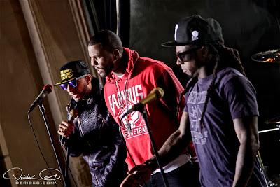 Imagen de Swizz Beatz, The Game y Lil Wayne en el rodaje del video de Can A Drummer Get Some ? del nuevo disco de Travis Barker llamado Give the drummer some