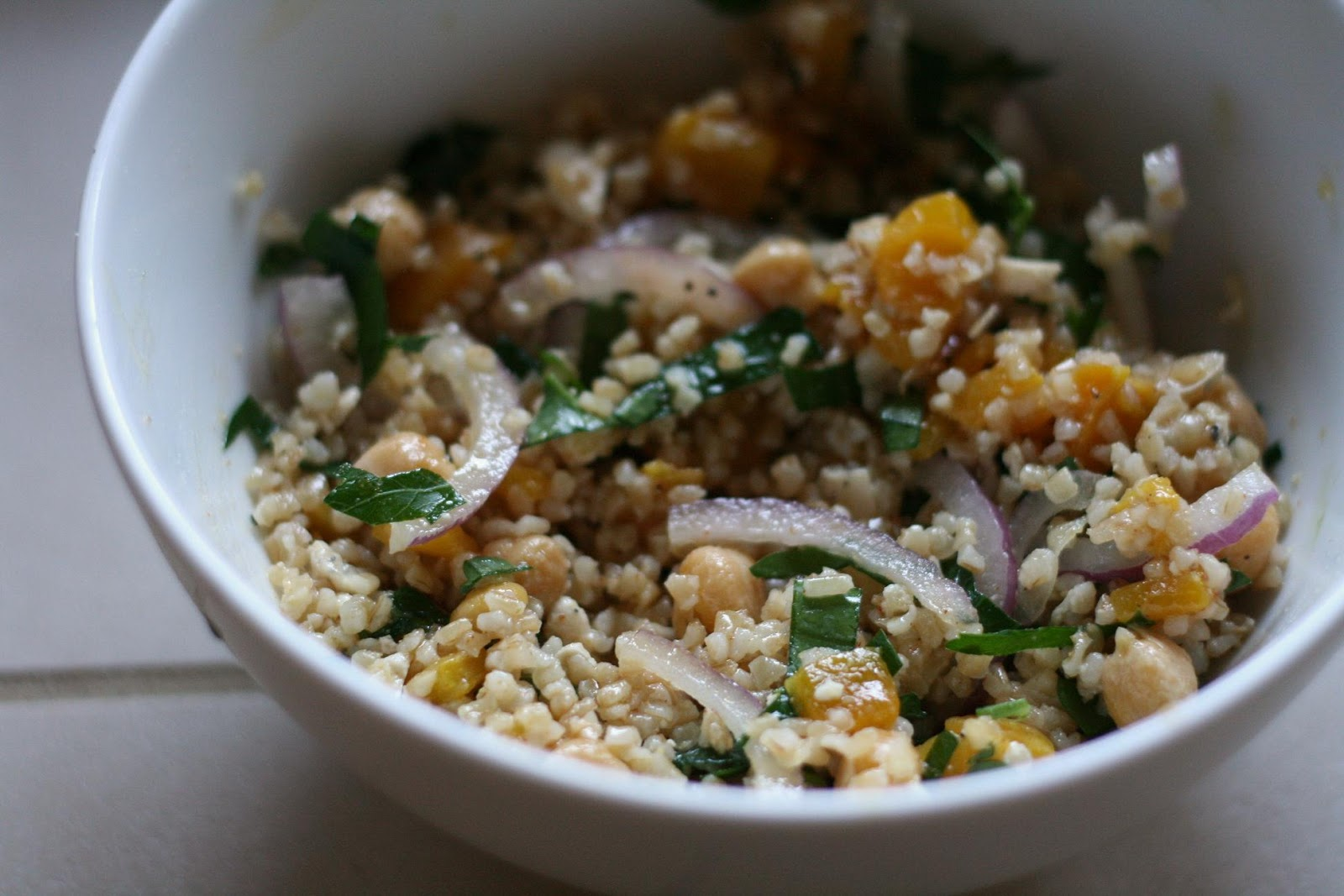 Bulgur Salad with Chickpeas, Roasted Peppers, and Feta