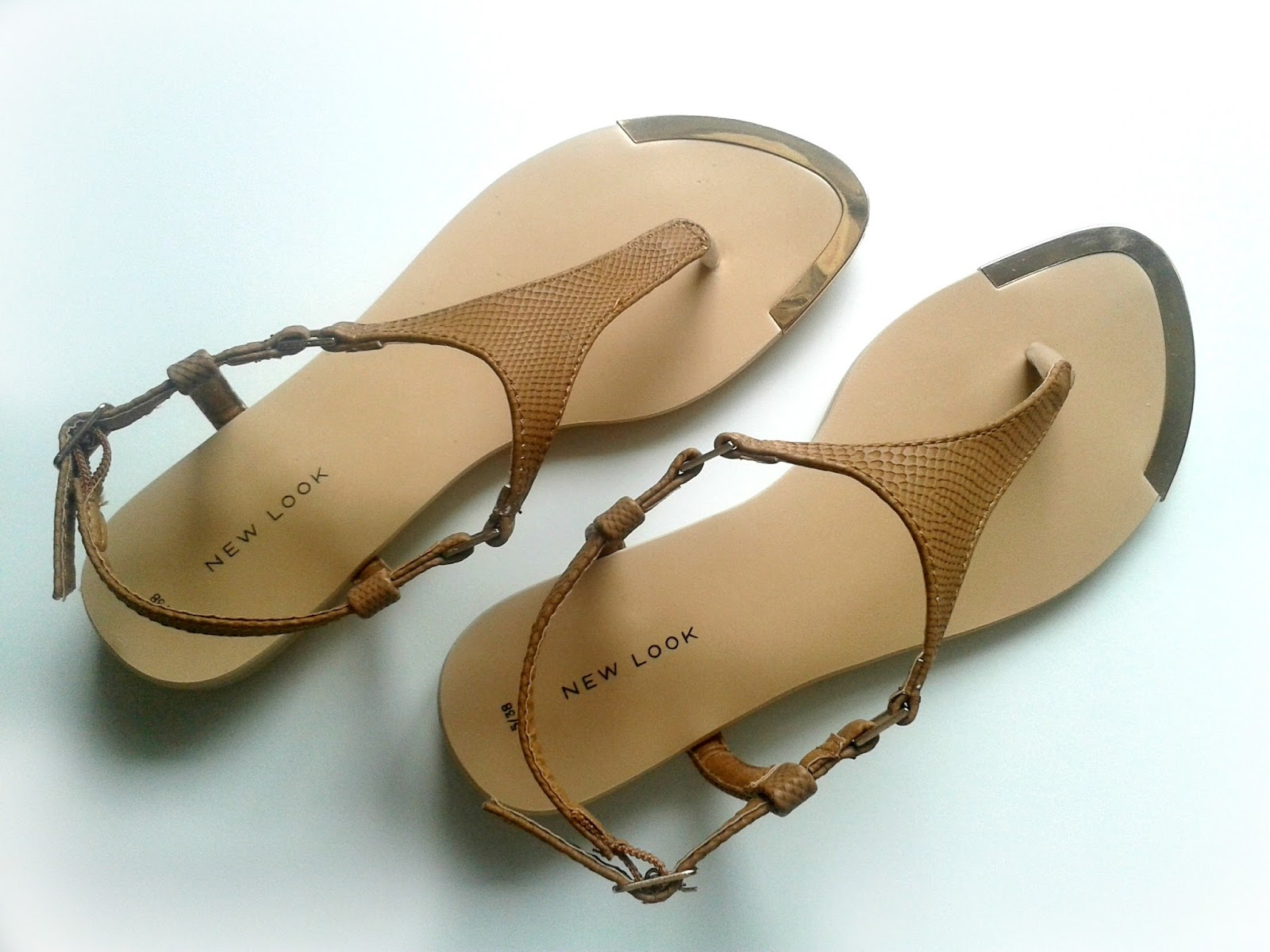 New Look Tan Leather Look T-Bar Sandals Outfit Review