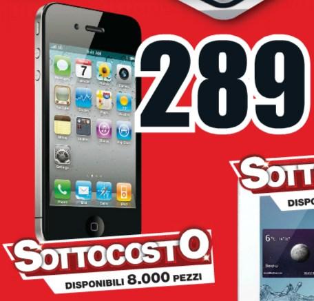 289 euro è il prezzo con sconto sottocosto da parte di Mediaworld per il vecchiotto smartphone iPhone 4 di Apple