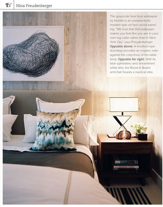 featured in House Beautiful, December 2007 ~ Nobilis Faux Bois Wallpaper