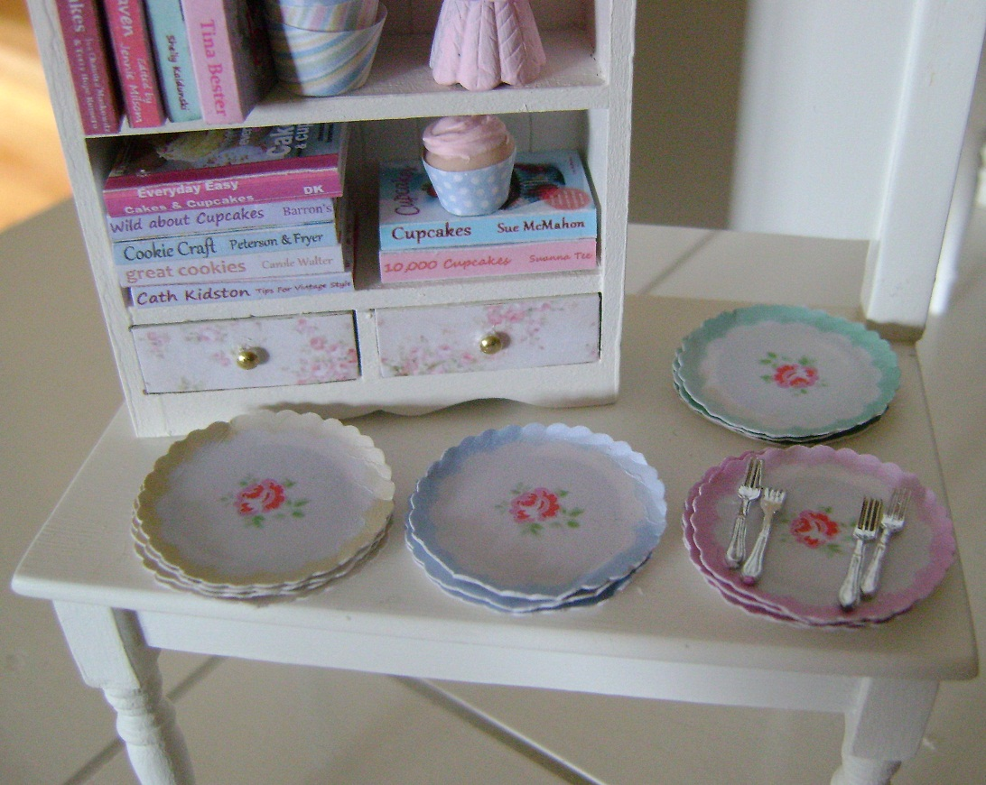 ... Cath Kidston Paper Plates detailed Cookbooks printed on all sides and more. It would look very sweet in a Mini Kitchen or Bakery and is now available ... & Baking In Miniature: Sweet Shabby Baking Display Cabinet