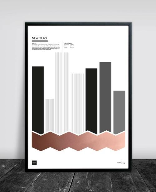 New York plakat med kobber