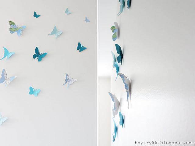 Mariposas hechas con mapas para decorar la pared - Mariposas para pared ...